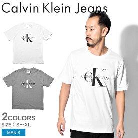 【メール便可】 CALVIN KLEIN JEANS カルバンクラインジーンズ Tシャツ 半袖 メンズ モノグラム エンブロ W/O ボックス MONOGRAM EMBRO W/O BOX J30J311293 112 039 CK ブランド カジュアル ロゴ シンプル プレゼント ギフト 定番 白[syobun]
