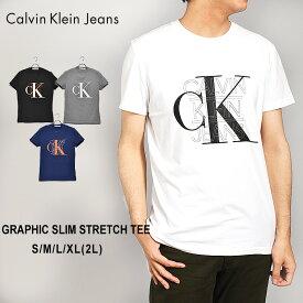 【メール便可】 カルバンクラインジーンズ 半袖Tシャツ CALVIN KLEIN JEANS グラフィックスリムストレッチTシャツ メンズ ブラック 黒 ホワイト 白 ブルー GRAPHIC SLIM STRETCH TEE J30J314229 tシャツ トップス 半袖 無地 スポーツ おしゃれ スポーティ