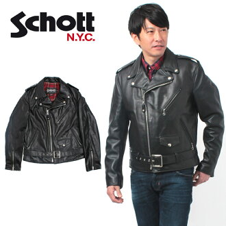 SCHOTT 26 LIGHTWEIGHT FIT VINTAG MOTORCYCLE COWHIDE LEATHER JACKET shot onestar double Ray Sanders cowhide leather 626 Tartan check belt jacket (for men)