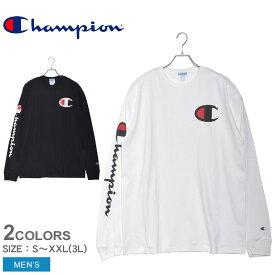 CHAMPION チャンピオン 長袖Tシャツ HERITAGE L/S TEE YO7789 メンズ ロゴ トップス ウェア シンプル カジュアル 長袖 黒 白 ブランド ロングスリーブ 部屋着 運動 スポーツ スポーティ クルーネック コットン