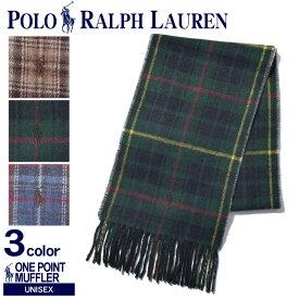 【メール便可】 POLO RALPH LAUREN ポロ ラルフローレン マフラーワンポイント チェックマフラーPC0232 220 354 470 メンズ レディース