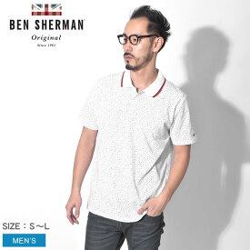 【メール便可】 BEN SHERMAN ベンシャーマン ポロシャツ ホワイト カンバセイショナル プリント ポロシャツ CONVERSATIONAL PRINT POLO SHIRT BC19S54463 010 メンズ イギリス トラッド シャツ トップス クラシック カットソー 英国 半袖 襟 幾何学模様 白