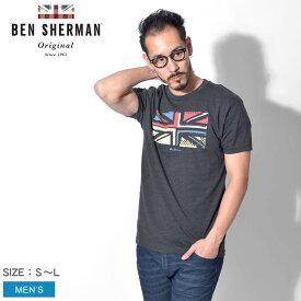 【メール便可】 BEN SHERMAN ベンシャーマン Tシャツ 半袖 グレー ユニオンジャック スライス グラフィック Tシャツ UNION JACK SLICE GRAPHIC TEE BB19S54819 504 メンズ ブランド イギリス トラッド トップス フラッグチェック