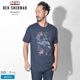 【メール便可】 BEN SHERMAN ベンシャーマン Tシャツ 半袖 ネイビー トロピカル ユニオンジャック グラフィック TROPICAL UNION JACK GRAPHIC TEE MB19S53774 MDN メンズ ブランド イギリス トラッド トップス