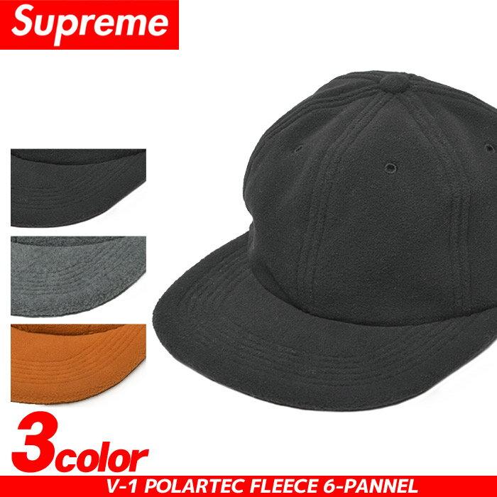 送料無料 SUPREME シュプリーム キャップ V-1 ポーラーテック フリース 6-パネル ブラック 他全3色V-1 POLARTEC FLEECE 6-PANNEL FW16H16帽子 ストリート カジュアル シンプル