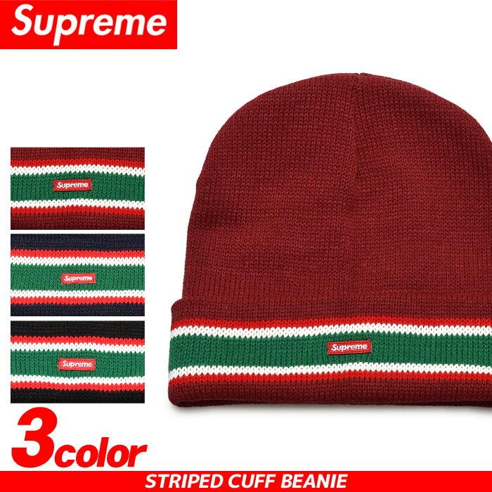送料無料 SUPREME シュプリーム キャップ ストライプ カフ ビーニー ブラック 他全3色STRIPED CUFF BEANIE FW16BN10帽子 CAP ニット帽 ストリート カジュアル 赤 青 黒