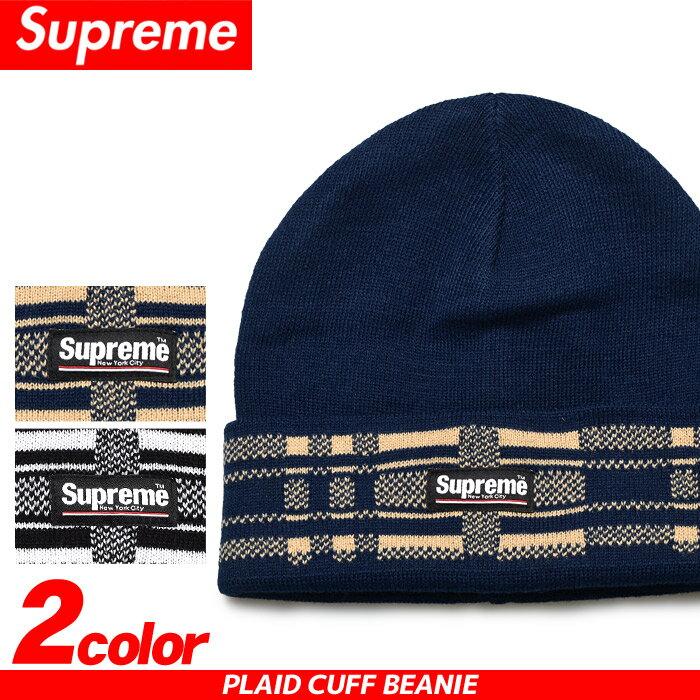 送料無料 SUPREME シュプリーム キャップ プレイド カフ ビーニー ブラック 他全2色PLAID CUFF BEANIE FW16BN7帽子 CAP ニット帽 ストリート カジュアル 青 黒