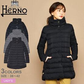 送料無料 ヘルノ HERNO ダウン ジャケット レディース PI0489D 19288 ダウンコート アウター 高級 ブランド 防寒 黒 ロング シック シンプル おしゃれ きれいめ 軽量 コート