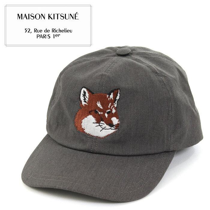 送料無料 メゾンキツネ MAISON KITSUNE 帽子 キャップ フォックスヘッド グレーFW17U822 CAP 6P FOX HEAD CAVIARメンズ レディース 帽子 ブランド シュール 人気 急上昇 ユニーク カジュアル ストリート 黒 デイリー