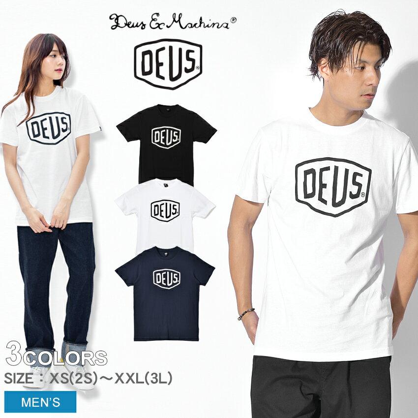 【メール便可】 DEUS EX MACHINA デウス エクス マキナ シェルド Tシャツ 半袖 全2色SHIELD TEE DMW41808Eロゴ プリント トップス ウェア T-SHIRTSメンズ(男性用)