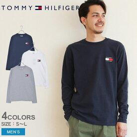 トミーヒルフィガー トミージーンズ 長袖 Tシャツ ロゴ パッチ ロングTシャツ TOMMY HILFIGER DM0 6958 メンズ トップス 服 春 秋 カットソー おしゃれ コットン 無地 クルーネック シンプル カジュアル ブランド