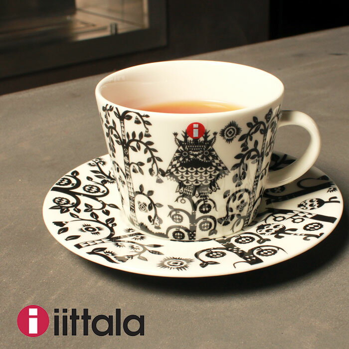 IITTALA イッタラ コーヒーカップ&ソーサー セット 200ml 15cm ブラック 500697 500698 マグ カップ コップ 皿 キッチン 用品 インテリア 食器洗い機 対応 陶磁器 ギフト プレゼント 黒