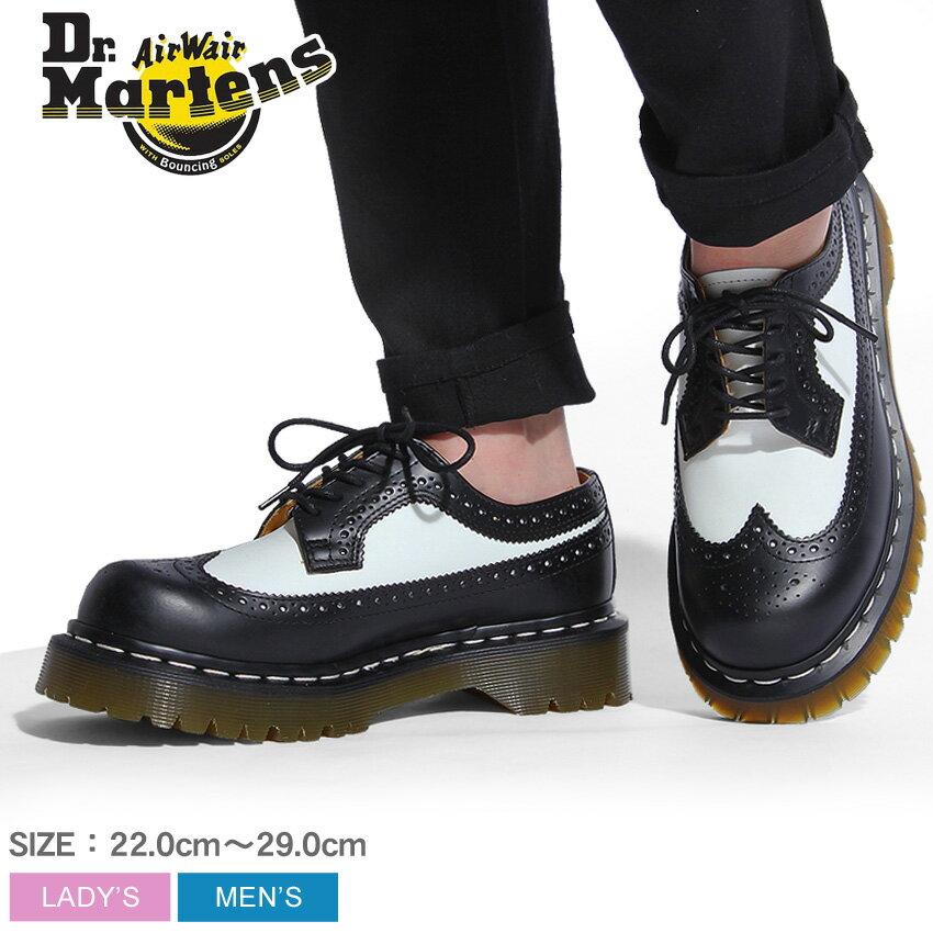 ドクターマーチン 3989 5ホール ブローグ シューズ ベックスソール ブラック×ホワイト (Dr.Martens 3989 5EYE BROGUE SHOE BEX SOLE) ウィングチップ 5アイ プラットフォーム 厚底 ワーク ウエスタン 靴 メンズ 男性 レディース 女性 誕生日