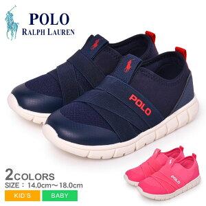 ポロ ラルフローレン BARNES SLIP ON スニーカー POLO RALPH LAUREN キッズ ベビー ジュニア 子供 RF1028 RF1029 ネイビー ピンク 靴 シューズ ローカット おしゃれ ブランド ロゴ シンプル カジュアル ワン