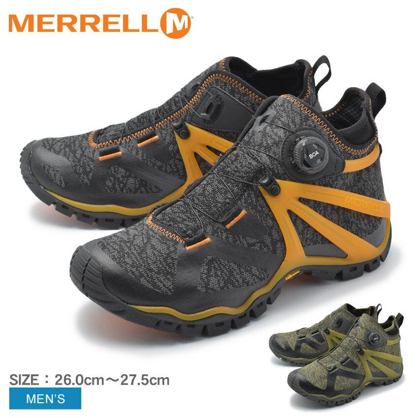 MERRELL メレル アウトドアシューズ ローブミッドニット ROVE MID KNIT J20091 J48725 メンズ ハイキング ミッドカット タウンユース アウトドア リラックス キャンプ フェス 紐なし シューズ 靴 グレー カーキ 誕生日 プレゼント ギフト