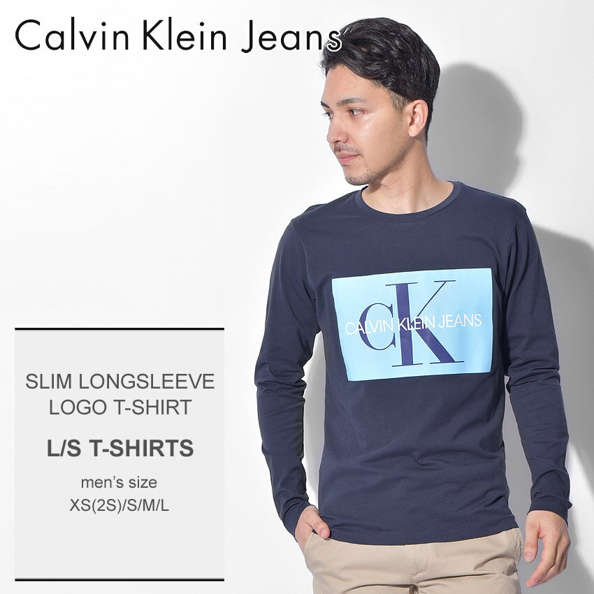 【クーポン配布中】【メール便可】 CALVIN KLEIN JEANS カルバンクラインジーンズ 長袖Tシャツ ネイビー スリム ロングスリーブ ロゴ Tシャツ SLIM LONGSLEEVE LOGO T-SHIRT J30J309600 メンズ ロンT トップス ウェア CK ロゴ シンプル カジュアル 誕生日 プレゼント ギフト