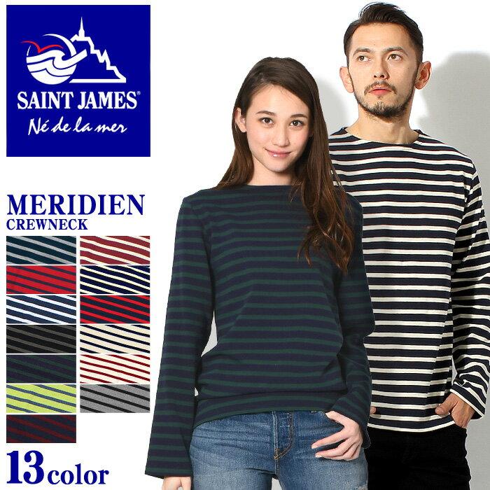 全国送料無料 セント ジェームス メリディアン 2 クルーネック バスクシャツ(SAINT JAMES MERIDIEN II CREWNECK 5196)ボーダー マリン 長袖 Tシャツ ロンT カットソー カジュアルメンズ 男性 レディース 女性