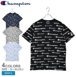 【メール便可】 チャンピオン スポーツスタイル ロゴ Tシャツ 半袖Tシャツ CHAMPION メンズ T5747P ブラック 黒 ホワイト 白 ウエア トップス バインダーネック クルーネック ブランド シンプル