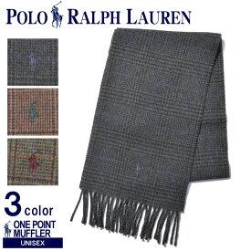 POLO RALPH LAUREN ポロ ラルフローレン マフラー ワンポイント チェックマフラー PC0252 メンズ レディース ユニセックス グレー ブラウン ストール チェック 防寒 刺繍 カジュアル かわいい おしゃれ 誕生日 プレゼント ギフト