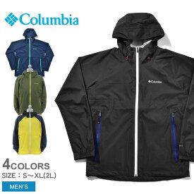 COLUMBIA コロンビア レインウェア ライトクレストジャケット LIGHT CREST JACKET メンズ ウェア 吸水 速乾 レインジャケット パッカブル 長袖 フェス アウトドア 登山 誕生日 プレゼント ギフト 雨
