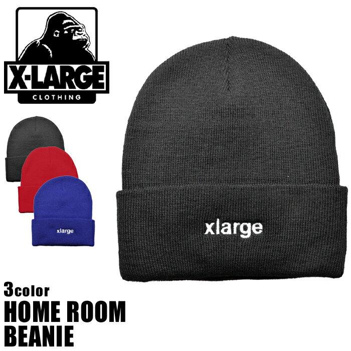 エクストララージ X-LARGE ニット帽 ホーム ルーム ビーニー HOME ROOM BEANIE M17C9203 BLACK RED BLUE エックスラージ ストリート 帽子 メンズ 男性 レディース 女性 誕生日プレゼント 結婚祝い ギフト おしゃれ