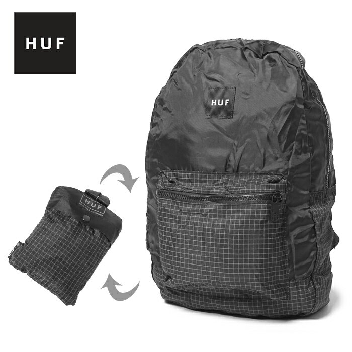 【MAX300円OFFクーポン】HUF ハフ リュック パッカブル バックパック PACKABLE BACKPACK AC00101 かばん 鞄 カバン リュックサック ポケッタブル 通勤 通学 高校生 女子 大容量 内祝い 誕生日プレゼント 結婚祝い ギフト おしゃれ 背面ポケット付き