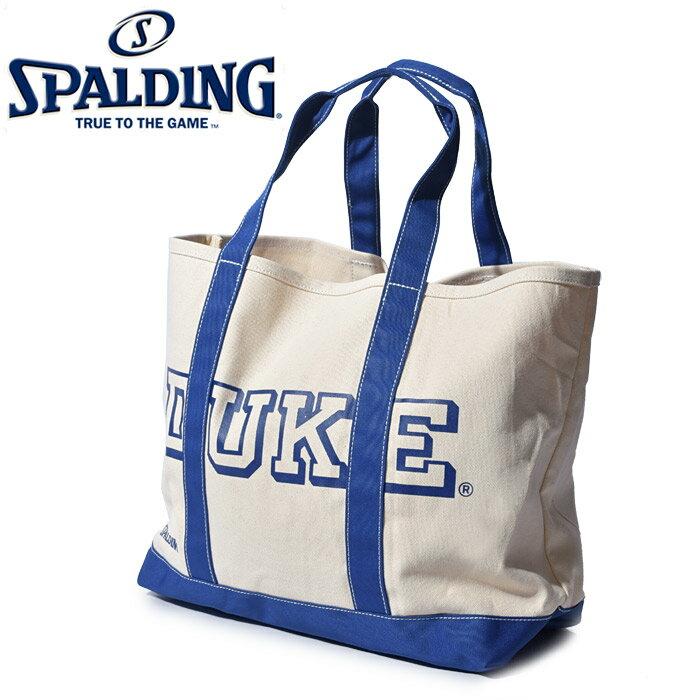 スポルディング SPALDING バッグ トートバッグ DUKE ホワイト×ロイヤルブルー TOTE BAG DUKE 49-004DK 鞄 かばん カバン カジュアル ロゴ 白 青 春 新生活
