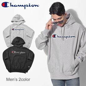 CHAMPION チャンピオン パーカー シャニール スクリプト CHENILLE SCRIPT YO7470 GF68 メンズ 黒 ブラック グレー ウェア トップス プルオーバー フーディ カジュアル ストリート 大きめ ロゴ 刺繍 シンプル 長袖