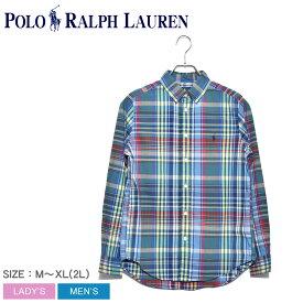 POLO RALPH LAUREN ポロ ラルフローレン 長袖シャツ ブルー ワンポイント チェックシャツ 323750000 メンズ トップス シャツ ウェア チェック ブランド カジュアル ブルー マルチ ボタンダウン リトルポニー 刺繍 長袖 定番 ワンポイント