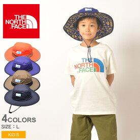 【メール便可】 THE NORTH FACE ザ ノースフェイス 帽子 キッズ ホライズン ハット KID'S HORIZON HAT NNJ01903 オレンジ 青 紺 ベージュ ノースフェース ハット アウトドア カジュアル シンプル スポーツ UV 紫外線カット おでかけ 撥水 運動