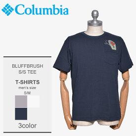 【メール便可】 COLUMBIA コロンビア Tシャツ メンズ 半袖ブラフブラシュ Tシャツ BLUFFBRUSH S/S TEE PM1391 アウトドア フィッシング 釣り UVカット キャンプ フェス グレー 白 紺