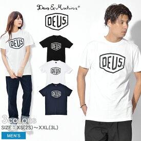 【メール便のみ】 DEUS EX MACHINA デウス エクス マキナ シェルド Tシャツ 半袖 全2色SHIELD TEE DMW41808Eロゴ プリント トップス ウェア T-SHIRTSメンズ(男性用)