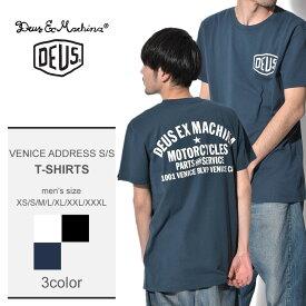 【メール便可】 DEUS EX MACHINA デウスエクスマキナ 半袖 Tシャツ メンズ 全3色 ベニス アドレス ショートスリーブ VENICE ADDRESS S/S T-DMW41808C カジュアル ストリート バックプリント 黒 白 ネイビー シンプル