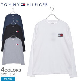 TOMMY HILFIGER トミーヒルフィガー 長袖Tシャツ ロゴパッチロングTシャツ DM0DM06958 メンズ カットソー トップス コットン 無地 ロゴ 白 黒 グレー クルーネック フラッグ シンプル ブランド