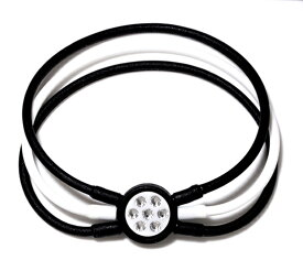電磁波対策 芸能人・アスリート多数愛用[ZAAP/ザップ]Bracelet ブレスレット BLACK&WHITE/WHITE ブラック&ホワイト/ホワイト