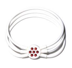 電磁波対策 芸能人・アスリート多数愛用[ZAAP/ザップ]Bracelet ブレスレット WHITE ホワイト・レッドスワロ
