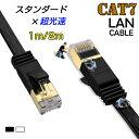 LANケーブル CAT7 1m 2m 10ギガビット 高速光通信対応 ツメ折れ防止 ランケーブル カテゴリー7
