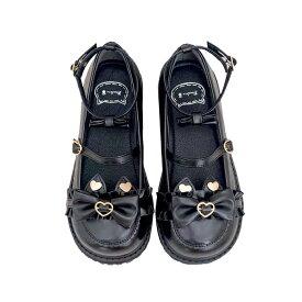 全6色 パンプス ストラップ リボン パンプス ラウンドトゥ ローヒール プラットフォーム 厚底 ゴスロリ ロリータ靴 レディース パンプス 靴 くつ シューズ 耳付き 可愛い かわいい お嬢様 姫系 コスプレ ハロウィン 送料無料