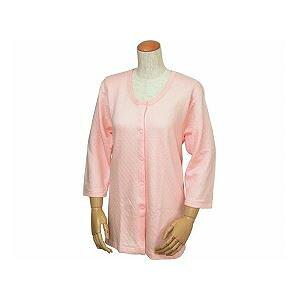 ウエル 婦人用 キルト八分袖前開きシャツ(ワンタッチテープ式) /W461 LL ピーチ