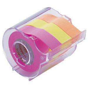 (まとめ) ヤマト メモック ロールテープ カッター付 15mm幅 オレンジ&レモン&ローズ RK-15CH-C 1個 【×15セット】