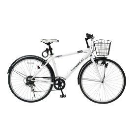 シボレー製 クロスバイク 【ホワイト】 6段ギア 700C スチール 『CHEVROLET』 〔ショッピング 通勤 通学〕【代引不可】