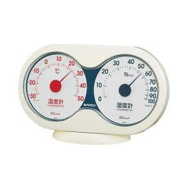 (まとめ)EMPEX 温度・湿度計 アキュート 温度・湿度計 卓上用 TM-2781 オフホワイト×レッド【×5セット】