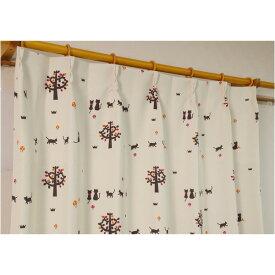 猫柄 遮光カーテン / 2枚組 100×135cm / オレンジ 形状記憶 洗える 『ネコタン』 九装
