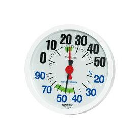 ★ポイント7.5倍★(まとめ)EMPEX 温湿度計 LUCIDO ルシード 大きな文字で見やすい温湿度計 壁掛け用 TM-2671 ホワイト【×3セット】