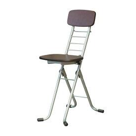 折りたたみ椅子 【2脚セット ダークブラウン×シルバー】 幅35cm 日本製 高さ6段調節 スチールパイプ 『リリィチェアM』【代引不可】