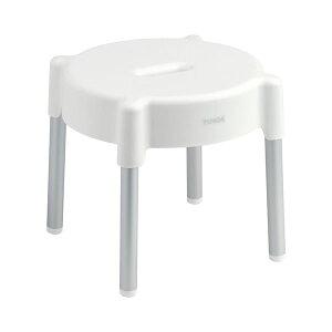 アルミ脚 風呂椅子/バスチェア 【高さ25cm】 丸型 抗菌・防カビ加工 ニューホワイト バス用品 『YUNOA ユノア』