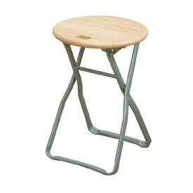 折りたたみ椅子 【4脚セット ナチュラル×シルバー】 幅32cm 日本製 木製 スチールパイプ 『キャプテンチェア』【代引不可】