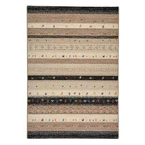 ギャッベ風 ラグマット/絨毯 【200cm×250cm ブラック】 長方形 ウィルトン 高耐久 『インフィニティ レーヴ』【代引不可】