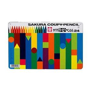 (まとめ)サクラクレパス クーピーペンシル24色(缶入)FY24 1パック【×10セット】