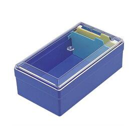 (まとめ) ライオン事務器 名刺整理箱W102×D180×H70mm 500枚収容 青 No.51 1個 【×10セット】